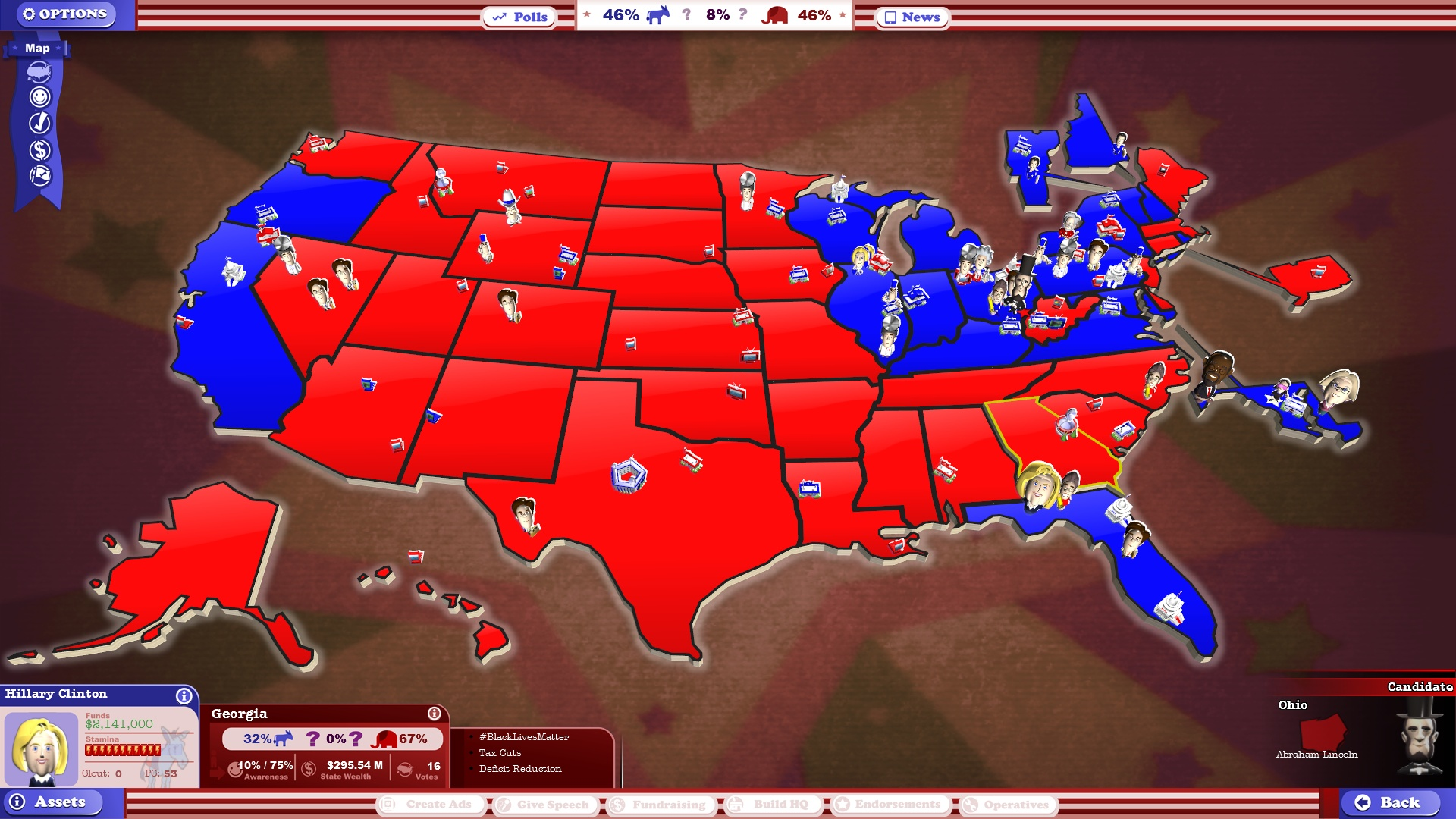 Stardock Store Product The Political Machine Campaign DLC - Us map by political party